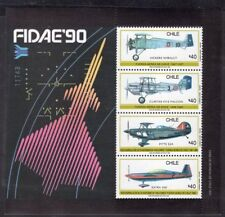 CHILE 1990 STAMP SS # 47 MNH AVIATION FAIR FIDAE 90'