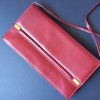 Vintage Morris Moskowitz MM Leather Bag Clutch Handbag Purse Red Gold Clasp