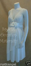 New Ivory Chiffon Vneck Rosette Maternity Dress Cocktail Special LARGE Evening