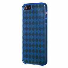 iPhone 5 5 5S SE Flexible Gel Case - Diamond Argyle Pattern - Blue.