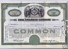 Erie Railroad Stock Certificate Green Pennsylvania RR
