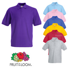 Fruit Of The Loom PIQUE POLO SHIRT KIDS BOYS GIRLS PLAIN SCHOOL CHILDREN SIZES