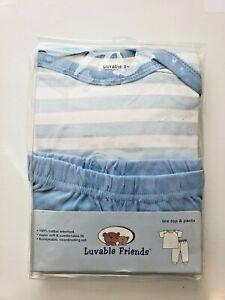 L@@K NEW LUVABLE FRIENDS BOYS 2 PIECE TEE TOP & PANTS SET BLUE SIZE 0-3 MOS