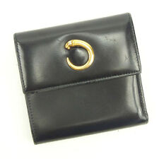Cartier Wallet Purse Trifold Black Gold Woman Authentic Used Y5106