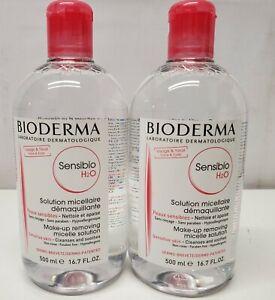 2 Bioderma Sensibio H2O Make-up Removing Micelle Solution-16.7 OZ.-Exp 12/21