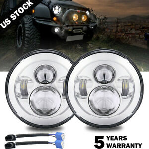 Pair 7 inch Round LED Headlights high or low beam Chrome for Jeep Wrangler JK TJ