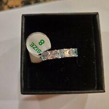 Ring Bomb Auqamarine Stone on Rhodium band size 8