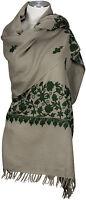 Schal hand bestickt hand embroidered 100% Wolle wool  stole Taupe Grün Foulard