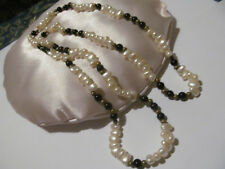 "Onyx Bead 32"" Long Strand Necklace Vtg Estate Genuine Freshwater Baroque Pearls"