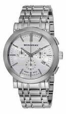 NEW BURBERRY MENS HERITAGE CHRONOGRAPH WATCH BU1372 SILVER DIAL METAL STRAP
