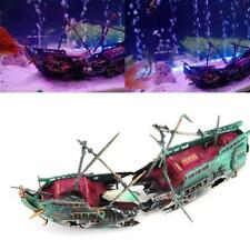 Aquarium Ornament Ship Air Split Shipwreck Fish Tank Decor Sunk Wreck Boat