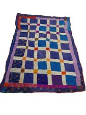 More details for 697a-beautiful vintage handmade patchwork kantha quilt throw reversible ralli