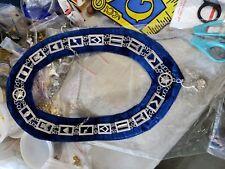 Masonic Master Mason Jewel Sliver Chain Collar Blue Backing Senior Steward Jewel