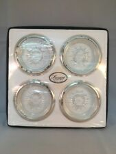 Leonard Crystal and Silver Plate Drink Coaster Set Of 4 Vintage Sealed D65