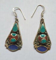 Asian  sterling silver earrings Tibetan Turquoise and coral Lapis jewelry E7