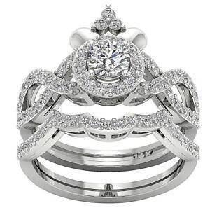 Natural Diamond I1 G 1.50 Ct Bridal Halo Wedding Ring Prong Set 14K Solid Gold