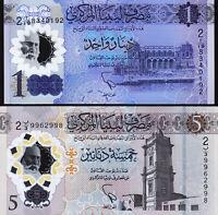 Libya 2 Pcs SET, 1 Dinar 2019 and 5 Dinar 2021, NEW DESIGN, UNC, POLYMER, P-New