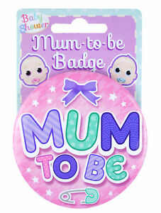 Pink Mum To Be Badge - Baby Shower Party Mom Boy Dress Up Pin Metal Game Lapel