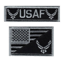 USA Flag Air force Logo USAF Subdued Hook Fastener Patch  (2PC Bundle MA1-MT2 )