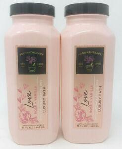 2 Bath & Body Works Aromatherapy Love Rose Vanilla Luxury Bubble Bath Wash 15 oz