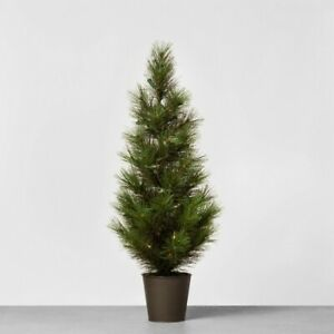 """Hearth & Hand 28"""" Pre-Lit LED Faux Pine Tree Metal Pot New in Box"""