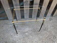 Ancienne table basse vintage design 20ème plateau en verre pieds fuseau