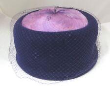 Vintage Womens Hat Purple Felt w Feathers & Netting Pillbox Excellent Shape