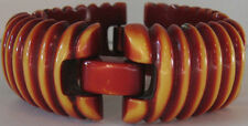 SUPER RARE VINTAGE OVERDYE RED TERRACOTTA YELLOW BAKELITE RIDGE LINK BRACELET