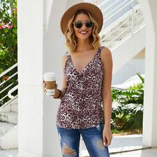 Women Girl Summer Vest Sleeveless Leopard Print Casual Tank Tops T-Shirt Clothes