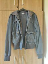Topshop Moto Gunmetal Dark Grey Bomber Jacket Hoodie Streetwear Size 6 XSmall