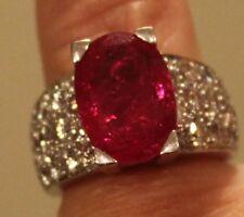 Designer Balogh 8 cts Heavy Platinum Ruby Diamond ring