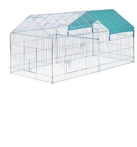 "PawHut 87"" x 41"" Outdoor Metal Pet Enclosure Small Animal Playpen Run for Rabbit"