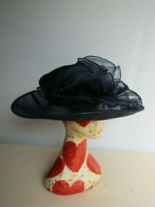 Vintage Formal Navy Blue Mesh Hat Wide Brim Wedding Races Special Occasion