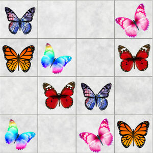 BATHROOM KICTHEN TILE STICKERS COLORFUL BUTTERFLY STICKERS 10 OR 20 IN A PACK