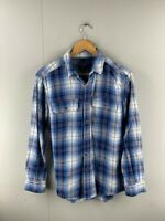 Faded Glory Mens Blue Red Plaid Vintage Long Sleeve Button Up Shirt Size Small