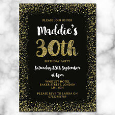 Black and Gold Birthday Party Invitations *ANY AGE* - pack of 10 with envelopes
