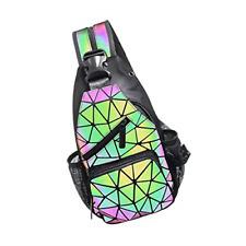 PYFK Geometric Prism Luminous Holographic Purse Color Changes Flash Bag Sling