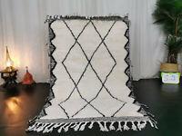 "Moroccan Handmade Beni Ourain Wool Carpet 3'7""x5'5"" Berber Geometric White Rug"