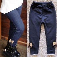 Kids Girls Winter Warm Thick Fleece Leggings Child Cotton Denim Trousers/Pants