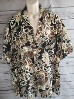 Hilo Hattie The Hawaiian Original Woody Flower Shirt Button Up Size XXL Blue Tan