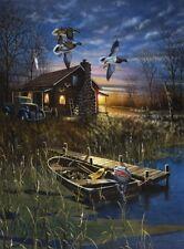 """Jim Hansel My Favorite Place Lake Boat Cabin Art Print   7.75"""" x 12"""""""