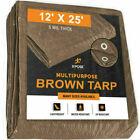 Brown Poly Tarp Cover  Multi-Purpose 5 Mil, Tent Shelter RV Camping Tarp