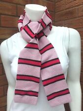 PAUL SMITH PINK STRIPE KNITTED COTTON SKINNY SCARF MADE IN ITALY