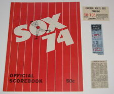 1974 Chicago White Sox Program vs A's + Ticket & Parking Stub & Box Score
