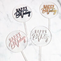 1Pcs Happy Birthday Cake Topper Card Banner Acrylic Cake DIY Wedding Party SALE-