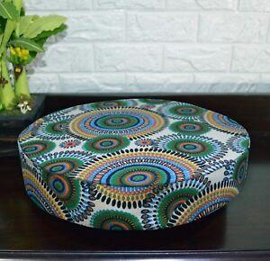 AF255r Green Orange Flower Cotton Canvas 3D Round Seat Cushion Cover Custom Size