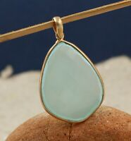 Chalcedony Gemstone Rose Gold Plated Party Wear Gift Pendant 925 Sterling Silver