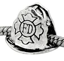 FD Fire Department Firefighter Helmet Bead fits Silver European Charm Bracelets