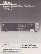 Akai AA-V301 Original A/V Receiver Owners Manual English, French