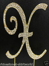 "GOLD ated Rhinestone  Monogram Letter ""X""  Wedding Cake Topper  5"" inch high"